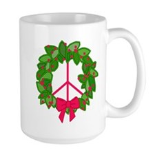 Holly Wreath Peace Sign Mug
