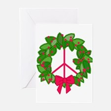 Holly Wreath Peace Sign Greeting Cards (Pk of 10)