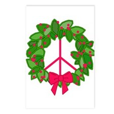Holly Wreath Peace Sign Postcards (Package of 8)