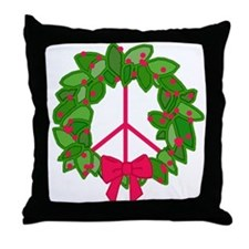 Holly Wreath Peace Sign Throw Pillow