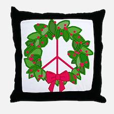 Holly Wreath Peace Sign Throw Pillow