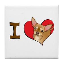 I heart chihuahuas Tile Coaster