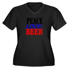 PEACE, LOVE, BEER Women's Plus Size V-Neck Dark T-