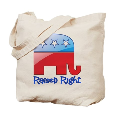 Raised Right Red/Blue Tote Bag