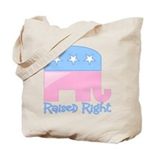 Raised Right Pink/Blue Tote Bag