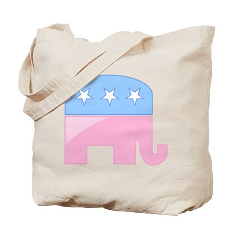 Pink/Blue Elephant Tote Bag