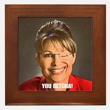 You Betcha Sarah Palin Wink Framed Tile