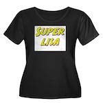 Super lisa Women's Plus Size Scoop Neck Dark T-Shi