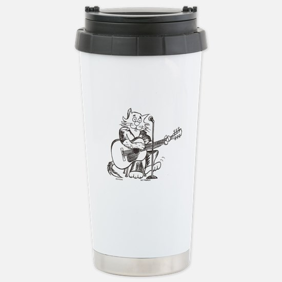 Accoustic Guitar Cat Stainless Steel Travel Mug
