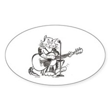 Catoons Acoustic Guitar Cat Oval Decal