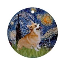 Starry Night & Welsh Corgi Keepsake (Round)