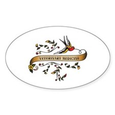 Veterinary Medicine Scroll Oval Decal