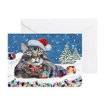 Maine Coon Cat Christmas Cards (10 Pk)