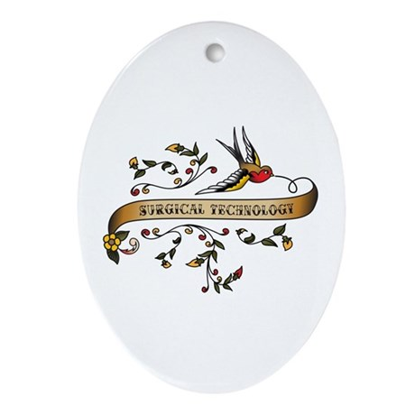 Surgical Technology Scroll Oval Ornament