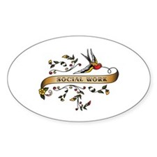Social Work Scroll Oval Decal