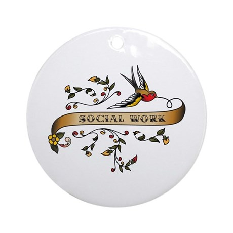 Social Work Scroll Ornament (Round)