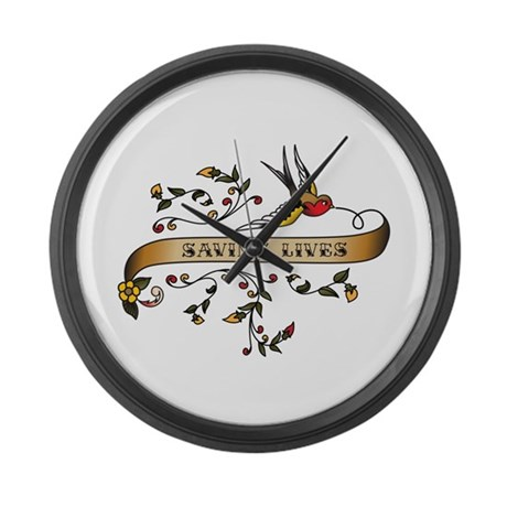 Saving Lives Scroll Large Wall Clock