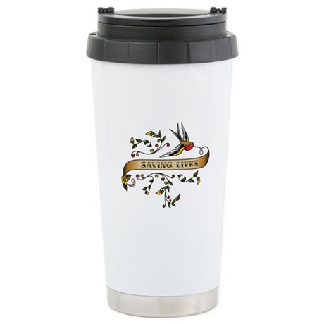 Saving Lives Scroll Stainless Steel Travel Mug