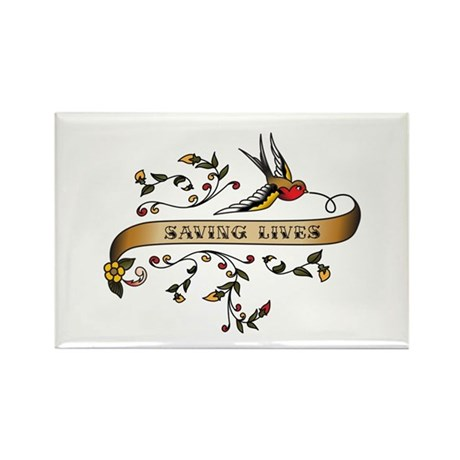 Saving Lives Scroll Rectangle Magnet