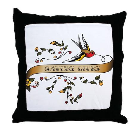 Saving Lives Scroll Throw Pillow