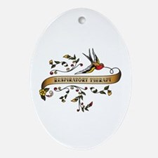 Respiratory Therapy Scroll Oval Ornament