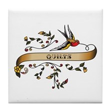 Quilts Scroll Tile Coaster