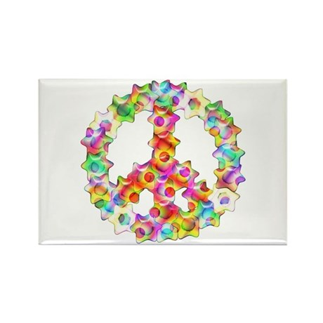 Flower Peace Sign Rectangle Magnet