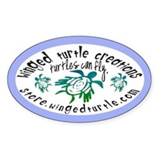 Winged Turtle Logo Oval Decal