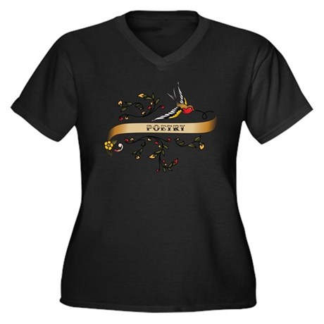 Poetry Scroll Women's Plus Size V-Neck Dark T-Shir