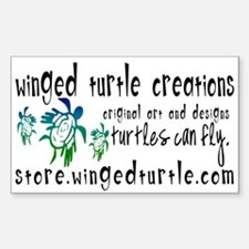 Winged Turtle Logo Rectangle Decal