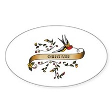 Origami Scroll Oval Decal