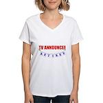 Retired TV Announcer Women's V-Neck T-Shirt