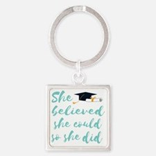 Cute College grad Square Keychain