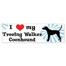 I Love My Treeing Walker Coonhound Bumper Car Sticker