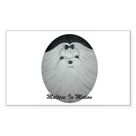 Maltese In Motion Rectangle Sticker