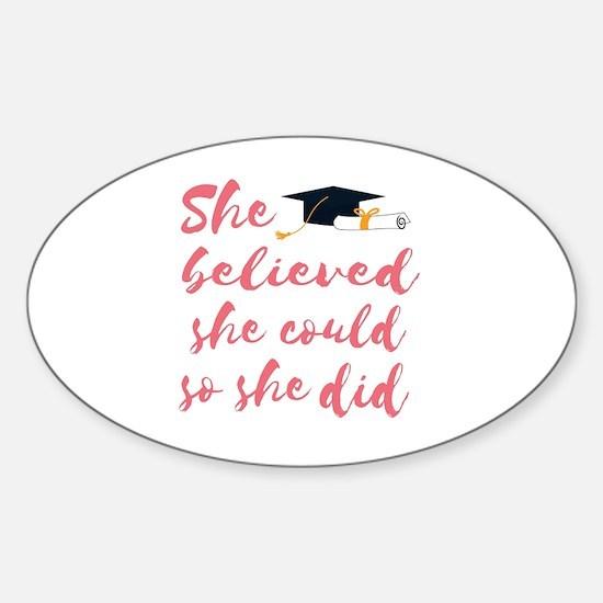 Cute Graduation Sticker (Oval)