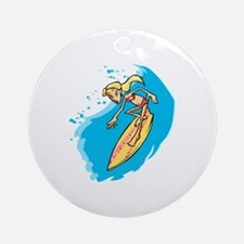 Surfer Girl Ornament (Round)