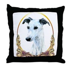 White Whippet Christmas Throw Pillow