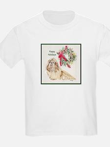 Tan & White Shih Tzu Christmas Kids T-Shirt