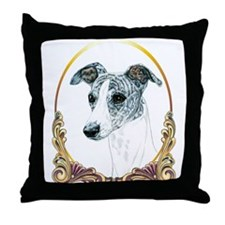 Brindle Whippet Christmas Throw Pillow