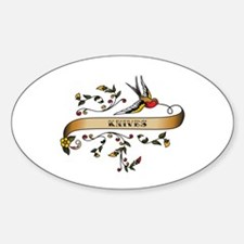 Knives Scroll Oval Decal