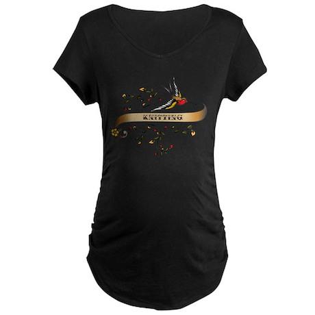 Knitting Scroll Maternity Dark T-Shirt