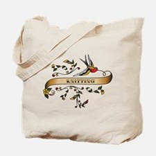 Knitting Scroll Tote Bag