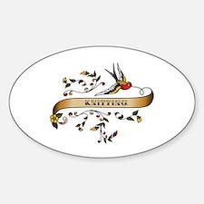 Knitting Scroll Oval Sticker (50 pk)