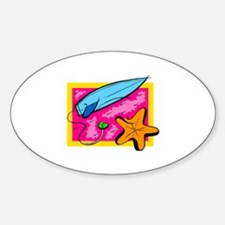 Surf Board Oval Decal