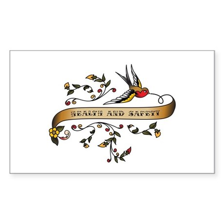 Health and Safety Scroll Rectangle Sticker 50 pk)