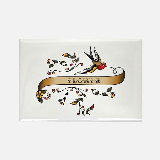 Flower Scroll Rectangle Magnet