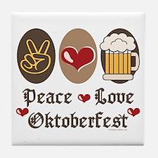 Peace Love Oktoberfest Tile Coaster