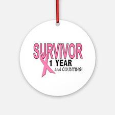 Breast Cancer Survivor 1 Year Ornament (Round)