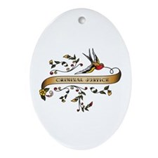 Criminal Justice Scroll Oval Ornament